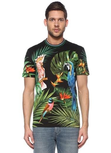Dolce&Gabbana Dolce&Gabbana 101479198 Bisiklet Yaka Hawaii Desenli Logo Detaylı Tshirt Yeşil
